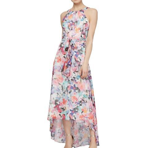 SLNY Women's Dress Purple Size 12 Maxi Floral Metallic High Low