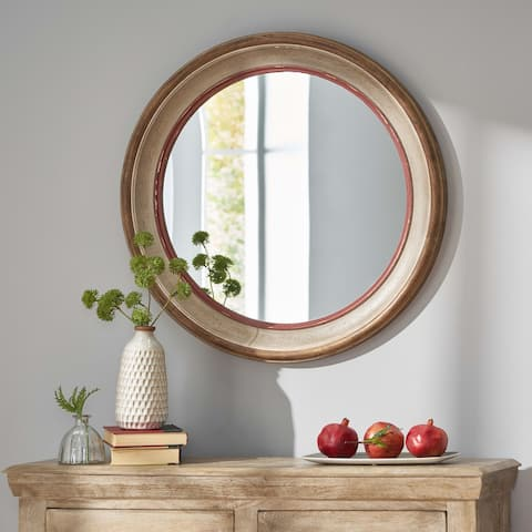 Haynes Indoor Wood Round Mirror by Christopher Knight Home