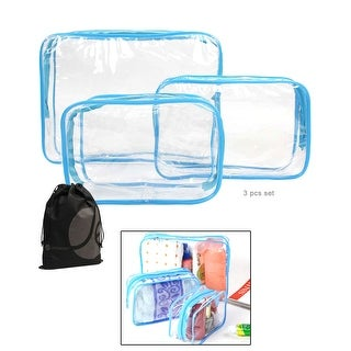 JAVOedge 3 Pack Clear PVC Toiletry Bag Set with Zipper for Vacation, Bathroom, Storage (3 Sizes)