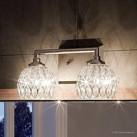 """Luxury Crystal Bathroom Vanity Light, 6.25""""H x 12.5""""W, with Classic Style, Brushed Nickel Finish"""