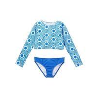 Azul Girls Blue White Namaste Long Sleeve Rash Guard Bikini Set