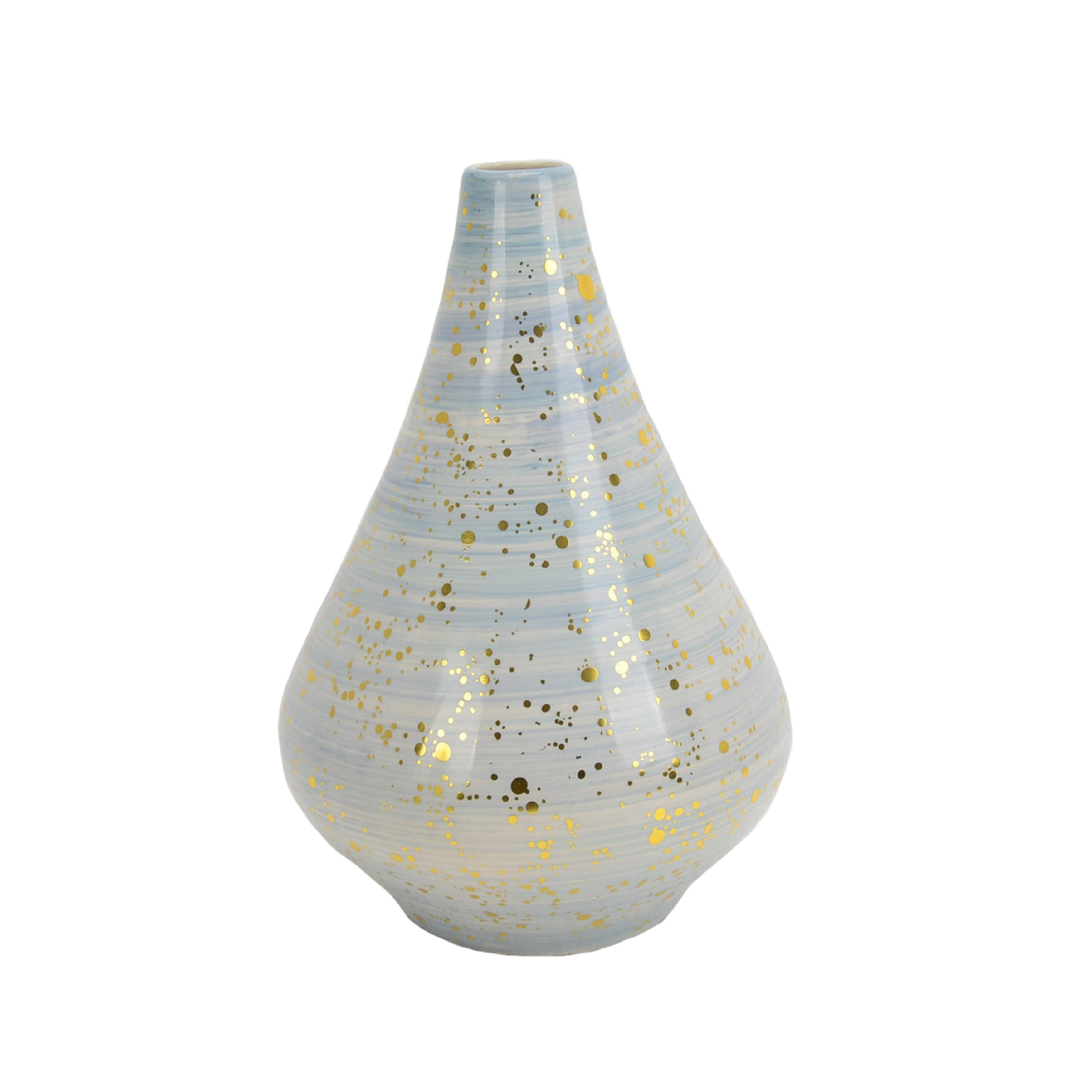 Gold Flecked Textured Ceramic Vase with Narrow Opening, Large, Blue