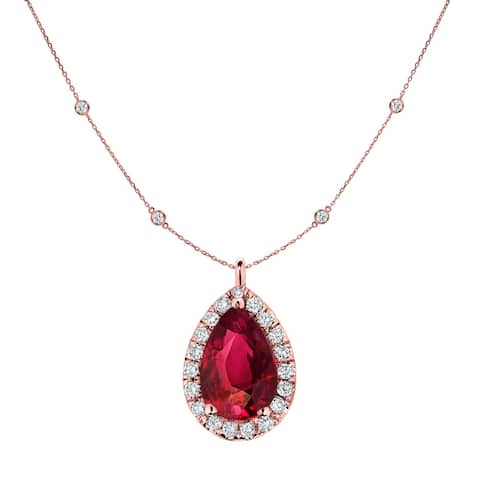 Auriya 14k Gold 1ct Pear-cut Ruby and Halo Diamond Chain Station Necklace 1 3/5ct TDW