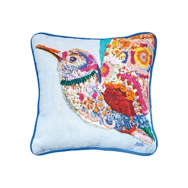 Colorful Hummingbird Pillow. Opens flyout.