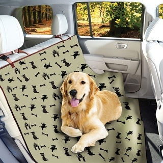 Waterproof Pet Seat Cover Dog Print - For Car Truck Bench Seats