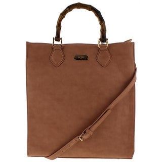 BCBG Paris Womens Tote Handbag Faux Leather Convertible - Large