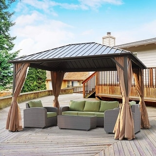 Link to Outsunny Steel Hardtop Gazebo with Screened Curtains - 12' x 10' Similar Items in Gazebos & Pergolas