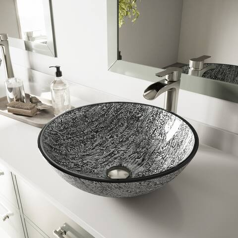 VIGO Titanium Glass Vessel Bathroom Sink Set With Niko Vessel Faucet