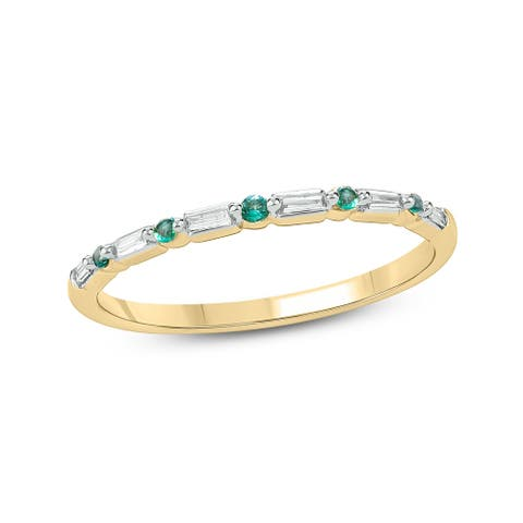 Cali Trove Celina Collection 14K Yellow Gold Accent Baguette White Diamond Round Green Emerald Anniversary Stackable Band Ring