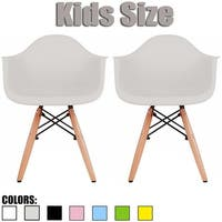 2xhome - Set of 2, Grey Kids Size Armchair With Arms Natural Wood legs Children Toddler Activity Preschool Chairs