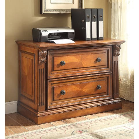 Q-Max 2 Drawer Lateral File Cabinet with Lateral File Drawer Antique Vintage Pecan
