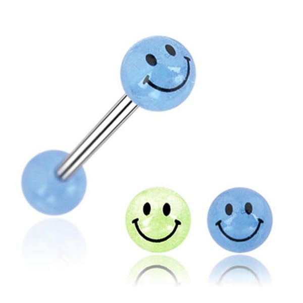 "Barbell with Smily Face Printed Glow In The Dark Ball (Sold Individually) - 14 GA 5/8"" Long"