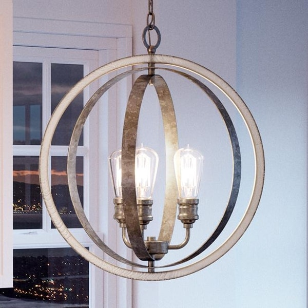 """Luxury Vintage Pendant Light, 24""""H x 21.25""""W, with Modern Farmhouse Style, Galvanized Steel Finish by Urban Ambiance. Opens flyout."""