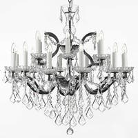 19th Baroque Iron & Crystal Chandelier Lighting H28 x W30
