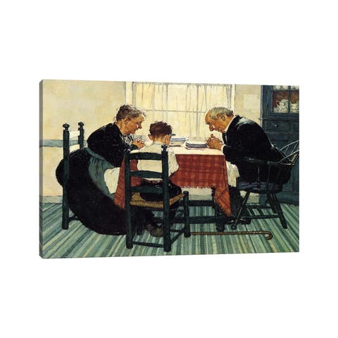 """iCanvas """"Family Grace (Pray)"""" by Norman Rockwell Canvas Print"""