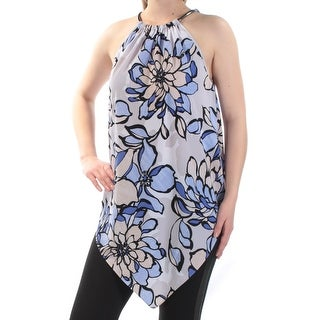 Womens Blue Beige Floral Sleeveless Halter Top Size S