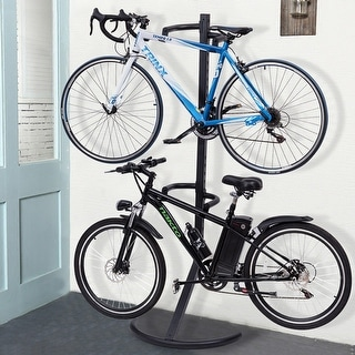 Link to Costway Freestanding Gravity Bike Stand Two Bicycles Rack For Storage - 30''L x 19''D x 79''H Similar Items in Cycling Equipment