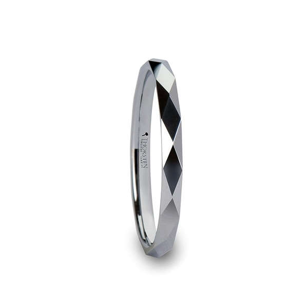 THORSTEN - WICHITA Diamond Faceted 2mm White Tungsten Ring for Her