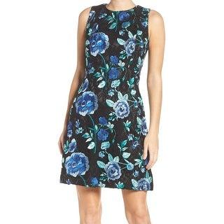 Eliza J NEW Black Women's Size 6 Floral-Embroidered A-Line Dress