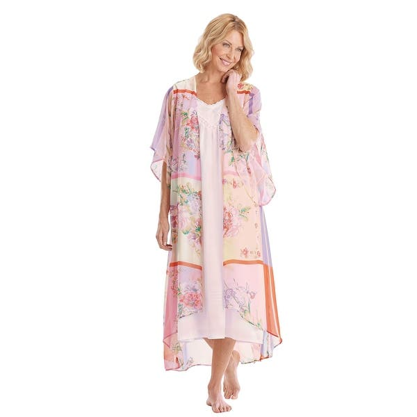 Women S Long Duster Kimono Robe Spring Pastel Print With Flutter Sleeves 46 Overstock 20698940