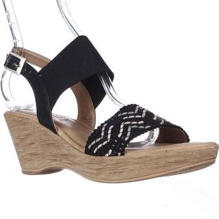 Easy Street Sanremo Wedge Sandals - Black/White