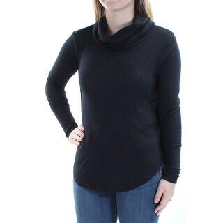 ULTRA FLIRT $34 Womens New 1209 Black Cowl Neck Long Sleeve Top S Juniors B+B