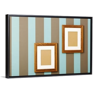 """""""Striped wallpaper with empty wood frames on walls"""" Black Float Frame Canvas Art"""