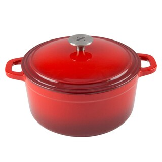 Zelancio Cookware 6 Quart Cast Iron Enamel Covered Dutch Oven Cooking Dish with Self-Basting Lid (Aqua Blue) (Option: Red)