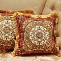 "Luxury Tangerine Gold Flower Pillow Embellished With Trim 20""X20"" - Thumbnail 1"