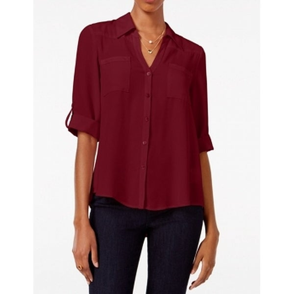 BCX Purple Women's Size XL Button Down Front Pocket Collared Blouse