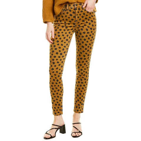 Madewell Egyptian Gold Painted Spots High-Rise Skinny Leg