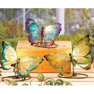 6 Small Blue, Green and Purple Capiz Shell Butterfly Tea Light Candle Holders 7""