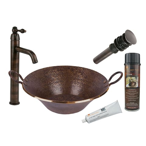 Premier Copper Products BSP1_PVMPDB Vessel Sink, Faucet and Accessories Package