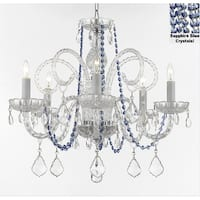 Authentic Crystal Chandelier With Sapphire Blue Crystals