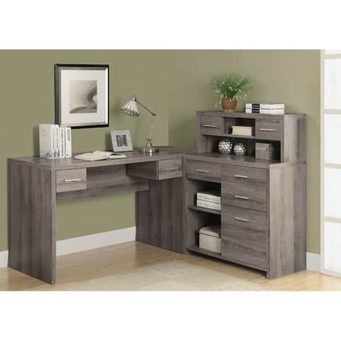 Offex Dark Taupe Reclaimed-Look L Shaped Home Office Desk