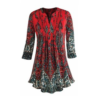 Women's Tunic Top - Paisley Print Pleated Long Fit Blouse