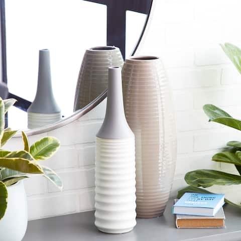 """Studio 350 Color Blocked Matte Ribbed Bottle Vase, 5"""" x 18"""""""