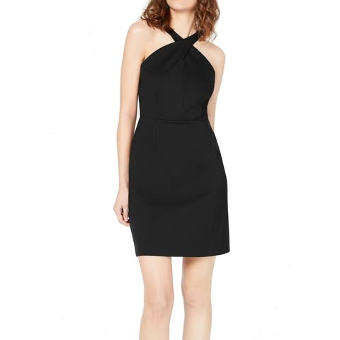 INC Women's Dress Solid Black Size 2 Sheath Halter Seamed Stretch