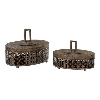 Set Of 2 Agnese Antiqued Gold Boxes - N/A