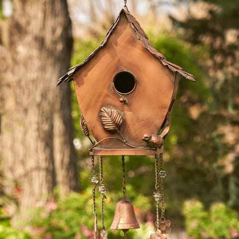 """Antique Copper Hanging Birdhouse Wind Chime """"Pagoda"""""""