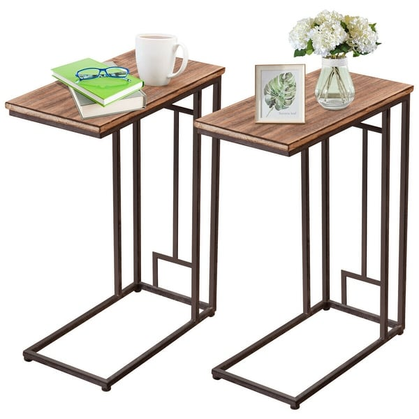Costway 2PCS 26'' Solid Wood Coffee Tray Side Sofa End Table Ottoman Couch Stand TV Lap - as pic
