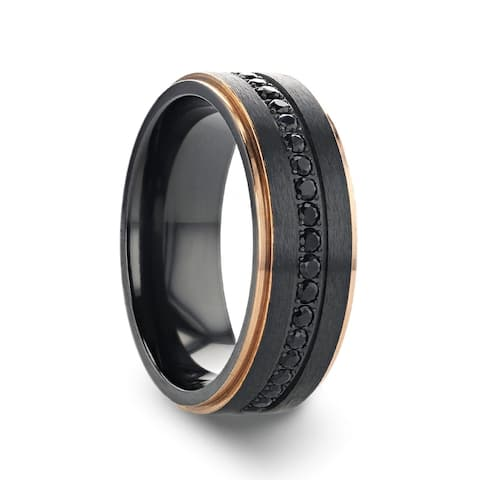 Thorsten Astro Titanium Rings for Men Flat Brushed Ring with Rose Gold Plated Inside and Black Sapphire Settings - 8 mm