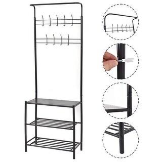 Costway Coat Hat Shoes hanger, 3-Tier Shelves and 9 Hooks Metal Entryway Storage Rack