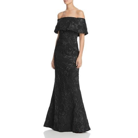 Aidan Mattox Womens Evening Dress Off-The-Shoulder Metallic