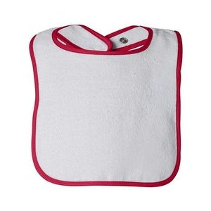 Rabbit Skins Infant Contrast Trim Terry Bib - Red - One Size