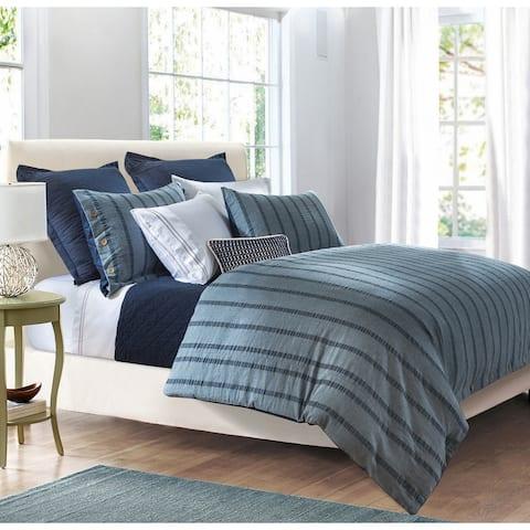3 Pc Harper Stripe Duvet Set, Super Queen Blue