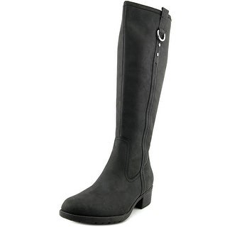 Hush Puppies Emel Overton Women W Round Toe Leather Black Knee High Boot