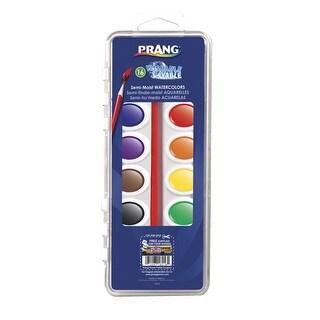 Prang Semi-Moist Watercolor Paint Set, Plastic Pan, Assorted Color, 16 Ovals