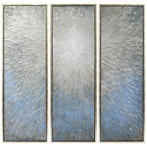Silver Ice Textured Metallic Hand-painted Wall Art