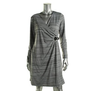 NY Collection Womens Petites Faux Wrap Striped Wear to Work Dress
